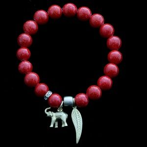 Elephant Feather Stretch-Bracelet Red & Gold NWOT